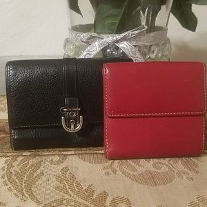 2 original coach trifold leather wallets